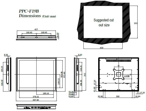 PPC-F19B-BT dimenisons