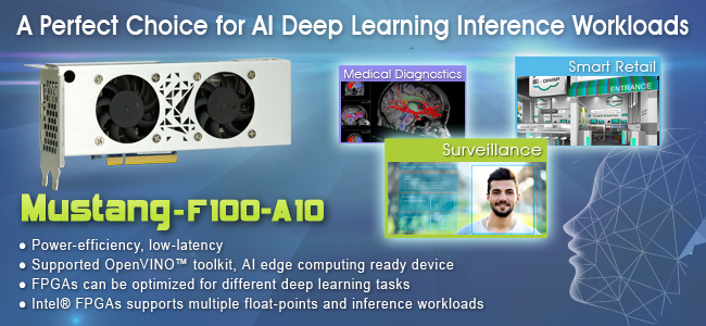 IEI introduces AI Vision Acceleration Card – Mustang-F100-A10 which