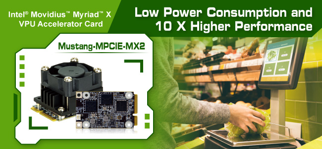 Mustang-MPCIE-MX2 Computing accelerator card with Intel VPU banner