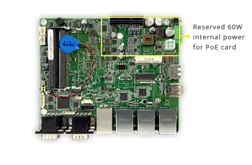 Reserved 60W internal power for PoE card