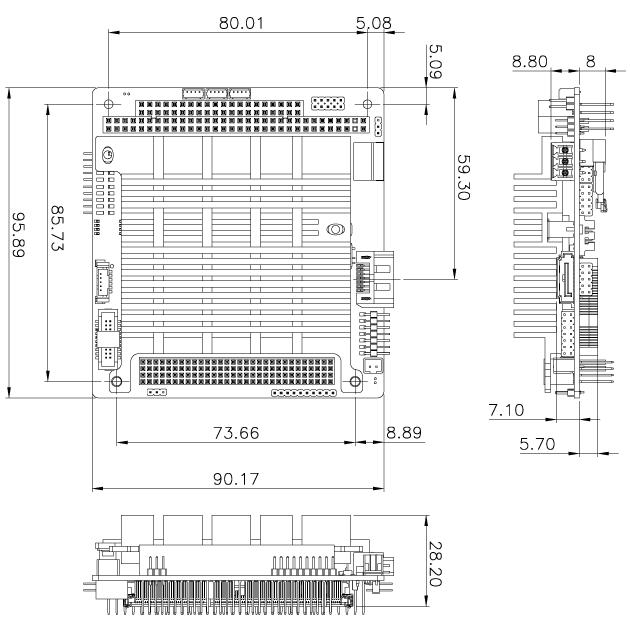 PM-BT single board computer dimension