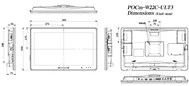 POCm Series medical panel pc dimension-1