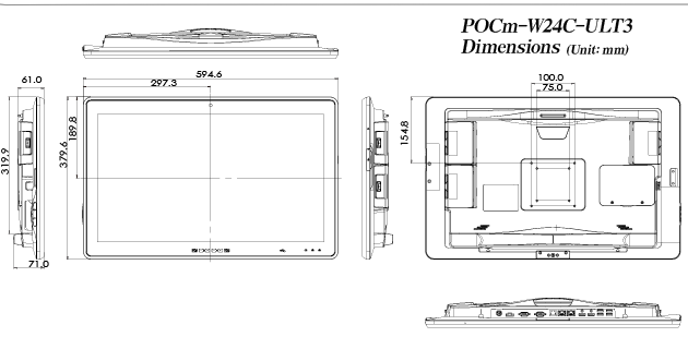 POCm Series medical panel pc dimension-2