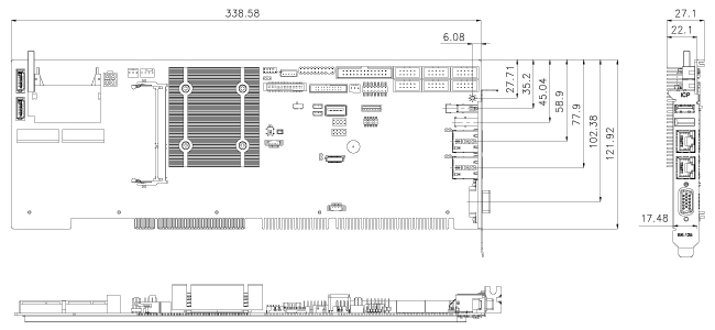WSB-BT single board computer dimensions