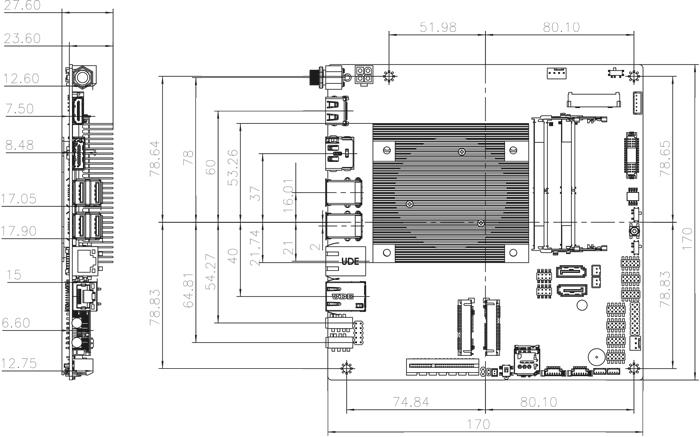 tKINO-ULT3 SBC Dimensions