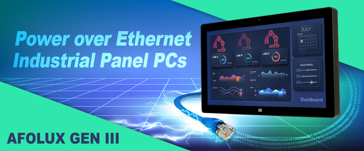 AFL3 industrial panel pc with power over ethernet banner